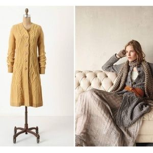 Far Away From Close Cable-knit Coil Mustard Duster